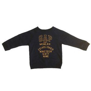 Gap Boys Navy Yellow Word Print Sweater Size 2